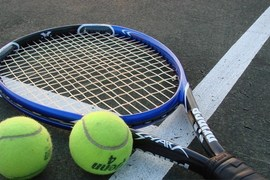 Preview tennis racket and balls
